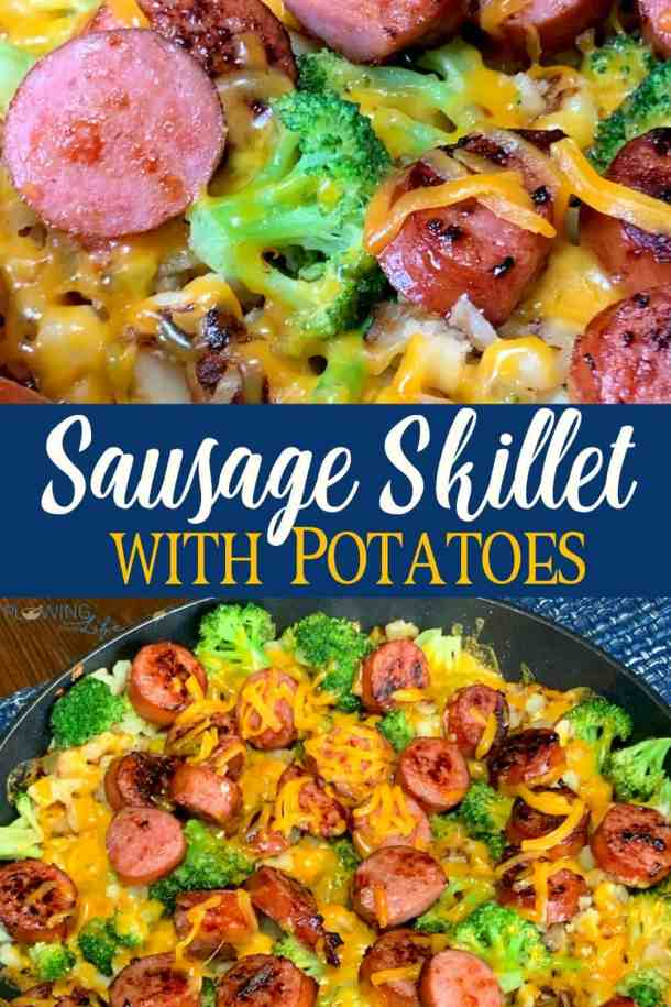 This easy Sausage and Potato Skillet has been a longtime family favorite meal!  Smoked sausage or Kielbasa, frozen potatoes O'Brien and broccoli topped with cheese makes a delicious one-skillet meal that is also great for meal prep!  Even our kids will eat this easy sausage skillet!