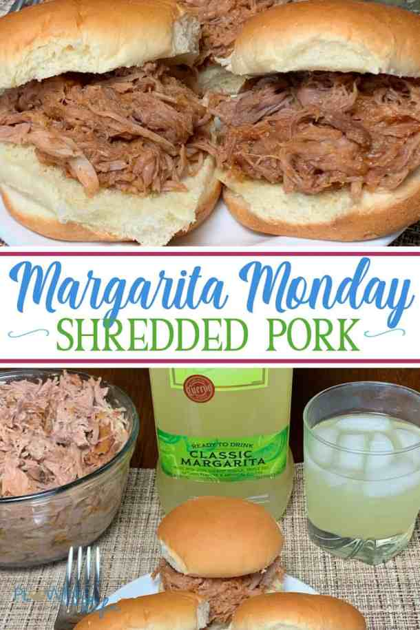After a long weekend when you need an easy meal to make this Margarita Monday Pulled Pork has only three ingredients and is very easy to make in the crock pot.  A bonus for the meal is that you can have a Margarita along with your shredded pork to cap off your day.