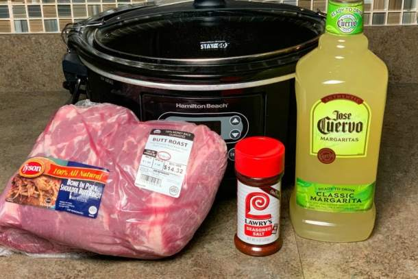 pork shoulder, slow cooker, seasoned salt and margarita mix for the best shredded pork in the crock por