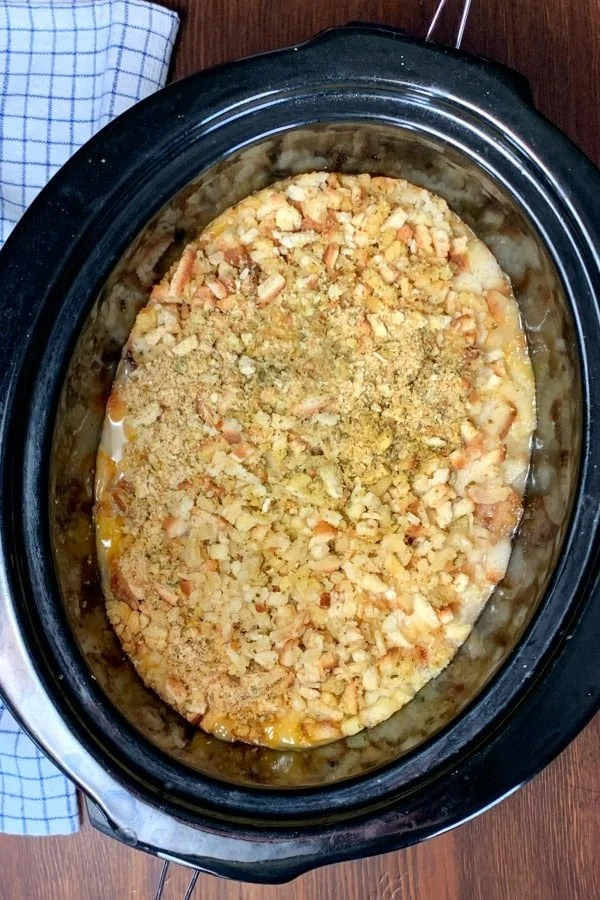 crock pot with stuffing and chicken casserole