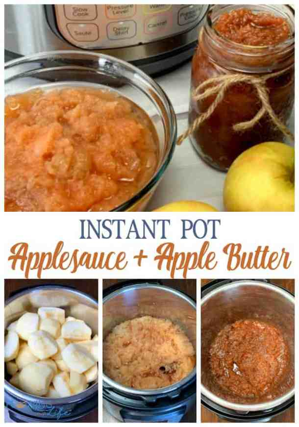 photos showing steps to make instant pot applebutter from applesauce and fresh apples