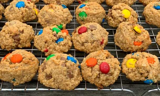 classic monster cookies on a cooling rack