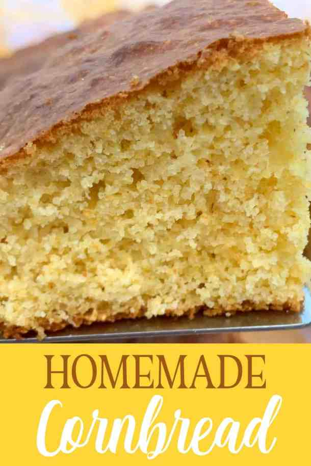 Close up slice of homemade cornbread