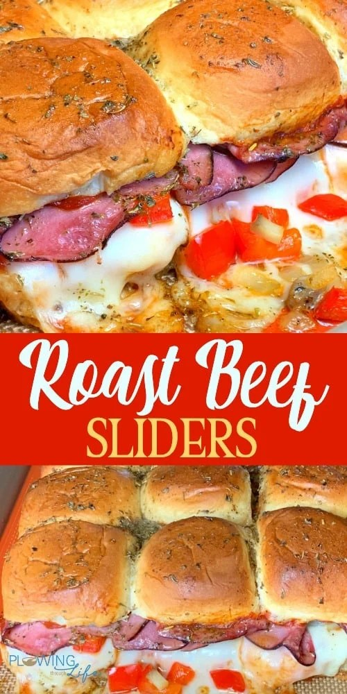Roast beef sliders with provolone cheese, sauteed vegetables, red sauce and a butter and herb glaze are simple, yet delicious.