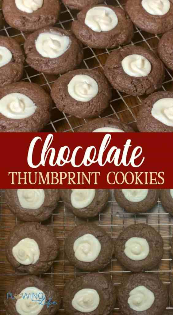 collage of chocolate thumprint cookies on cooling rack with white icing