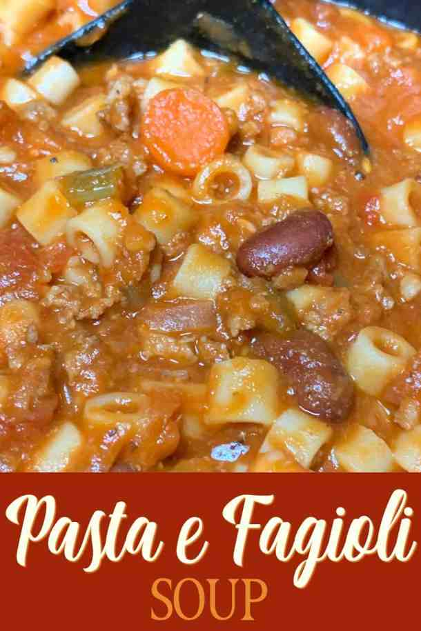 Serving spoon of pasta e fagioli soup with text