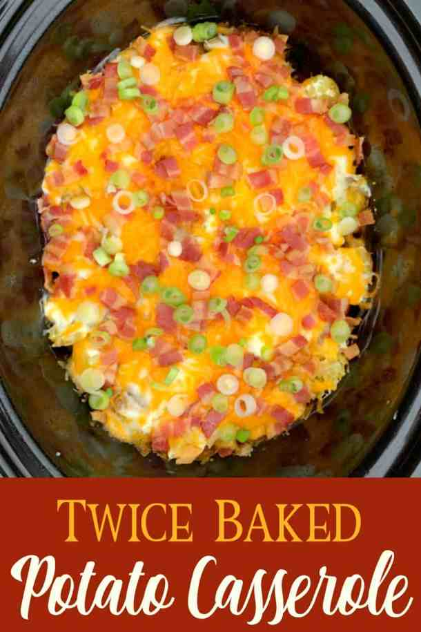 Slow cooker full of loaded twice baked potatoes with text