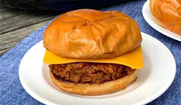 Best farmhouse sloppy joe meat recipe on a brioche bun with cheddar cheese