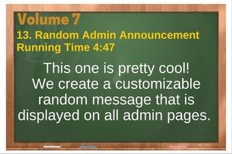 PLR 4 WordPress Vol 7 Video 13 Random Admin Announcement