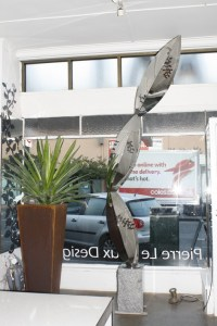 Wedge Urn Planter and 'Pinnacle' in Mirror Finish Stainless Steel