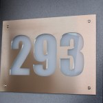 House Number Panel (Stainless Steel over White Perspex)
