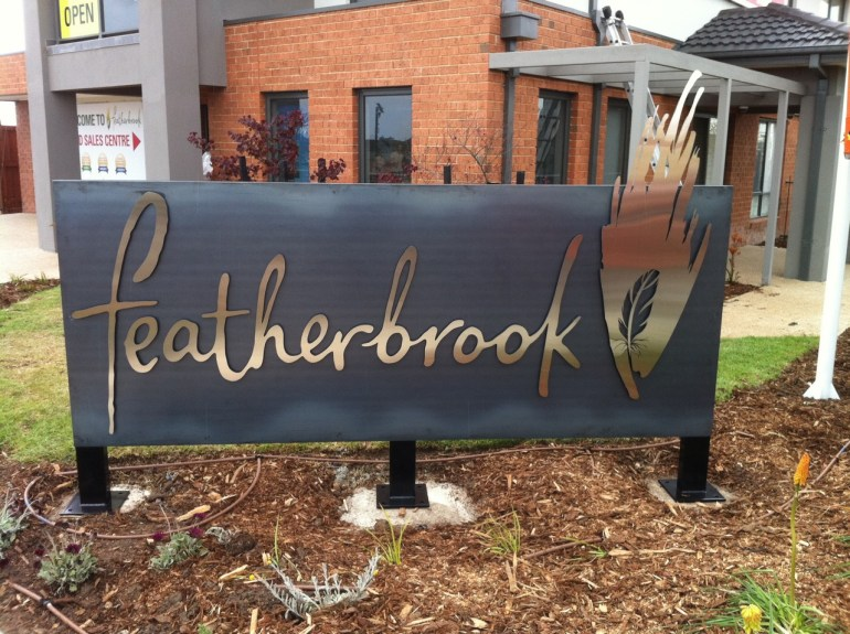 Featherbrook, Point Cook - Estate Signage (Corten and Satin-Finish Stainless Steel)