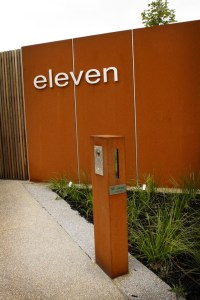 Freestanding Mailbox and Fencing with Stainless Steel Lettering