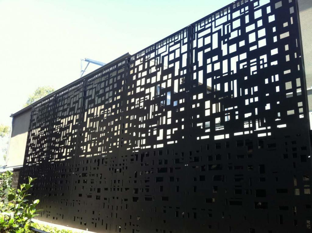 City scape laser cut privacy screen by PLR Design