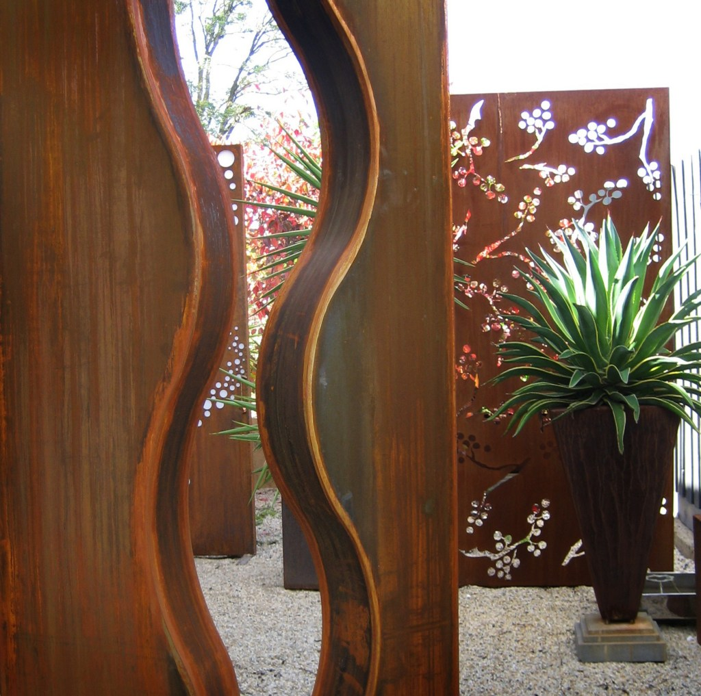 Wave Corten steel sculpture close up