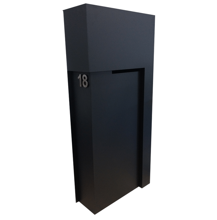 steel fabricated letterbox powder coated black by PLR Design