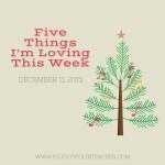 Five Things I'm Loving This Week: December 11, 2015