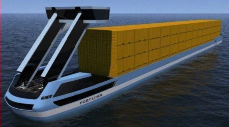 An electric barge carrying shipping containers