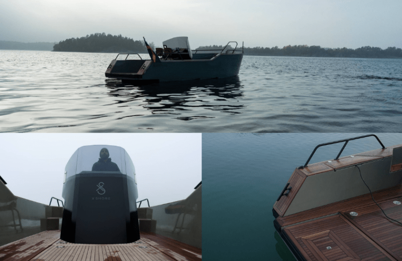 X Shore electric boat photos - the boat on the water and close ups of the bow and stern