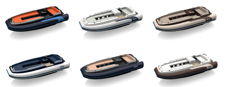 6 different colour combinations for the eJet 450 yacht tender