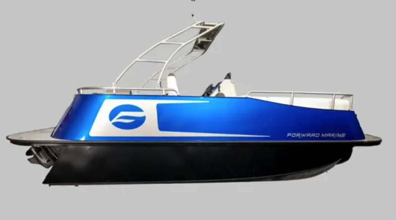 A blue pontoon boat in profile