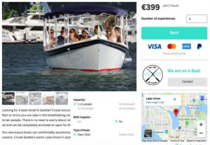 a listing from the site showing a picture of the boat, information and payment options