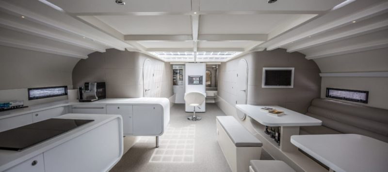 spaceship-like interior of the Energy Observer hydrogen powered boat