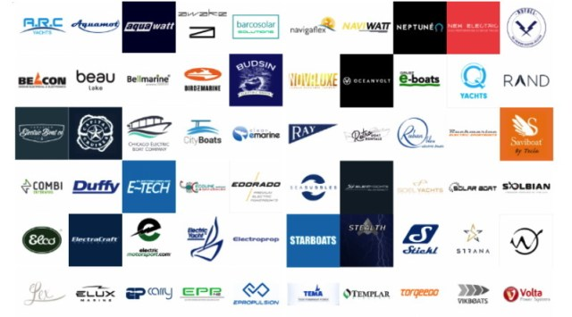 a montage of different logos from companies associated with electric boats
