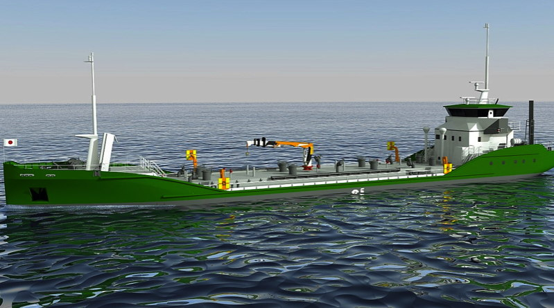artists rendition of a large green oil tanker on the sea