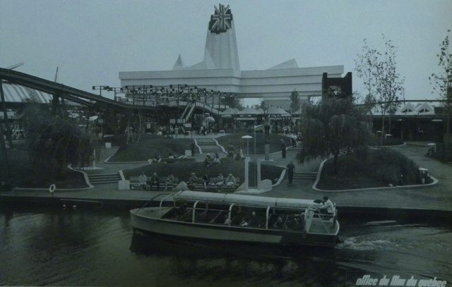 a Vaporetto touris boat goes in front of the UK pavilion at EXPO 67