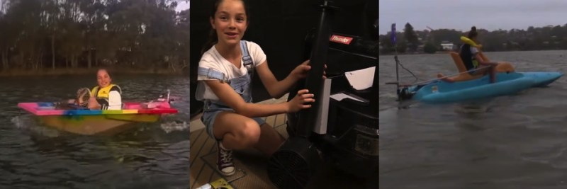 A young girl with three electric boat inventions