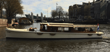 Stern s the name of this electric canal boat for rent in Amsterdam