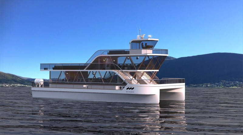 A large two storey catamaran with windows all around sits in a Norwegian fjord
