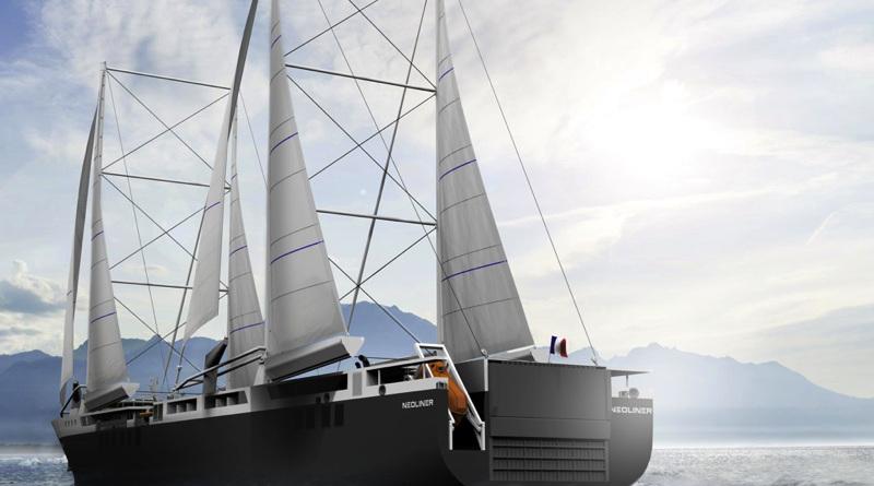 A huge sailing cargo ship four 4 massive sails