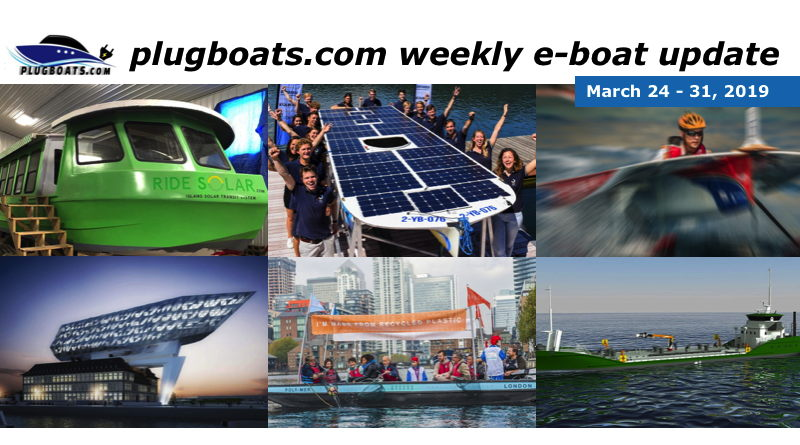 A montage of 6 different pictures of stories about electric boats