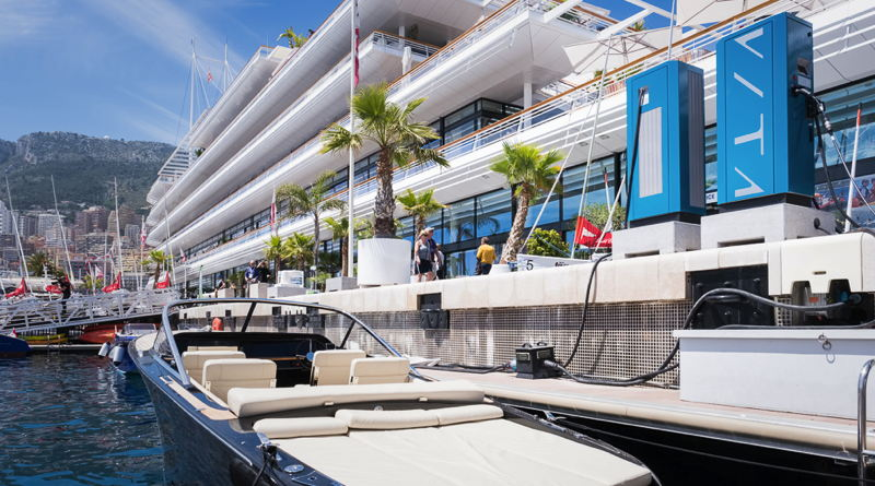 electric boat chargers arrive at the Yacht Club de Monaco