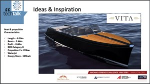 A slide of a VITA electric yacht with facts and figures from a PowerPoint presentation