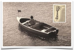 a man in a small boat in the 1950s testdriving a motor