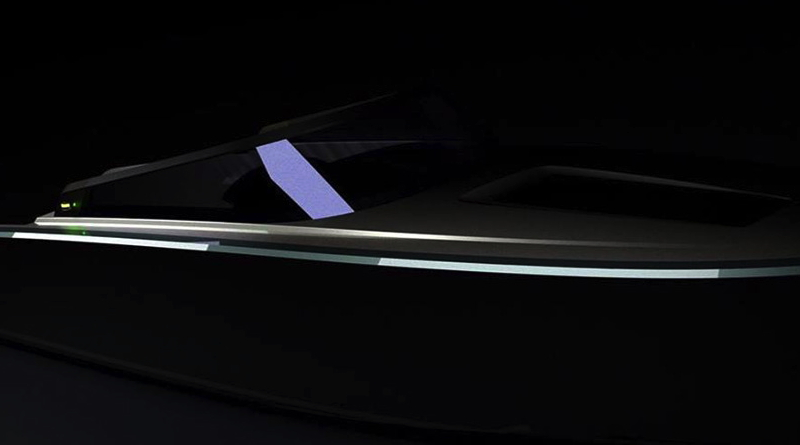 a black speedboat