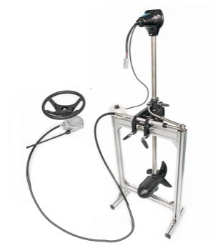 Caroute W Series electric trolling motor showing remote steering wheel
