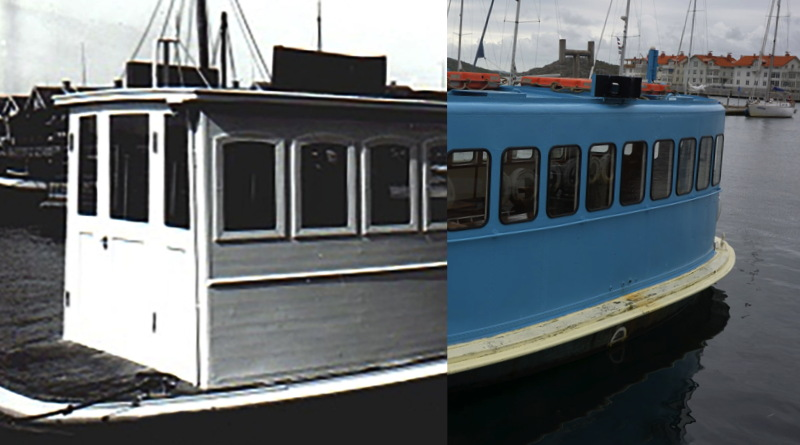A photo composition of an early 20th century photo of the electric ferry with a 20th century photo