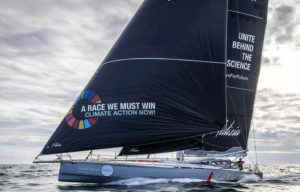 Climate Action Now and Unite Behind the Science on the sails of the racing yacht Malizia II