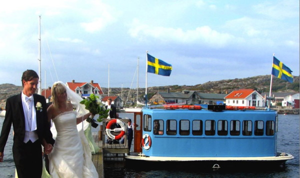 A wedding couple on the refurbished Swedish electric ferry in 2019