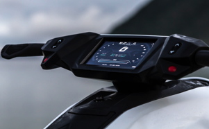 closeup of the electronic display of the Orca electric jetski