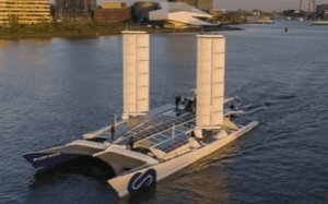 solar panels on the hull of a large catamaran, the Energy Observer