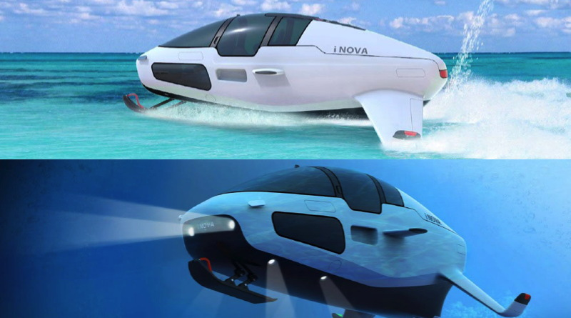 Pictures of a futuristic electric boat - top picture it hydrofoils above water bottom pictureh it is a submarine