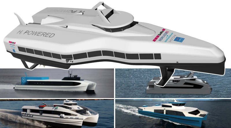 concept drawings of five high speed ferries