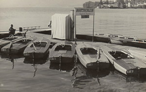 A line up of vintage 1955 Frauscher boats