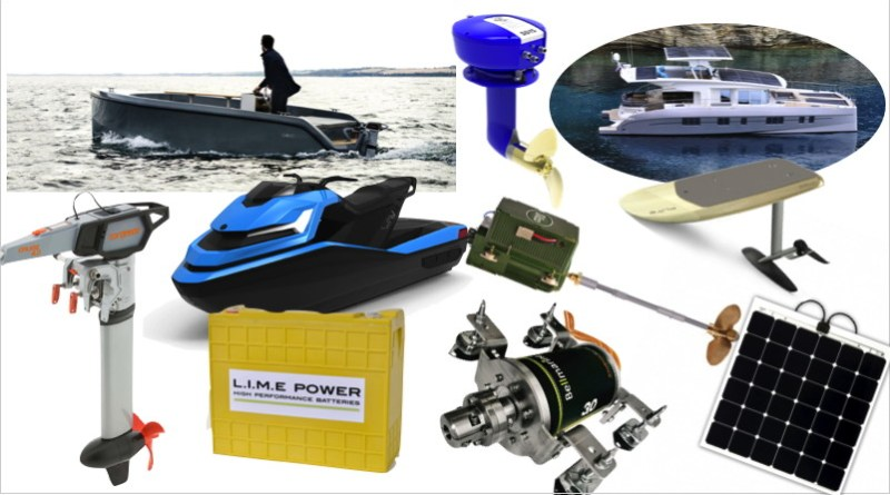 collage of electric boat and boating items