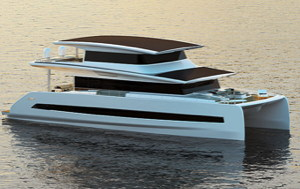 An 80 foot yacht with three decks and solar panels on each deck